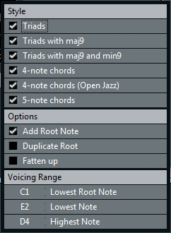 Chord Track: Voicing Options